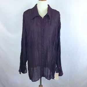 Apostrophe Sheer Pleated Bell Sleeves Boho Shirt